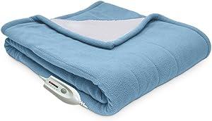 Serta | Reversible Sherpa/Fleece Heated Electric Throw Blanket, Standard, (Slate)