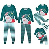 Weixinbuy Women Men Kids Baby Pajamas Set Sleepwear Santa Claus Pattern Stripe Pants Trouser Christmas Family Matching Pjs Set