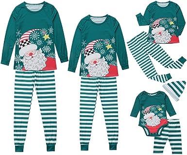 Miyanuby Mujere Hombre Niño Niña Bebé Pijamas Familiares de Navidad Pantalones de Rayas Conjunto de Pijama de pantalón Ropa de Dormir Navidad Familiar ...