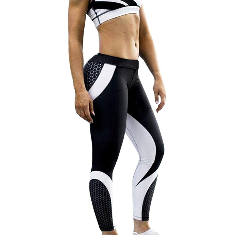 f188bcfa1 Amazon.com  Leyorie Womens Honeycomb 3D Print Tights Yoga Skinny Workout  Gym Leggings Sports Training Cropped Exercise Capri Pants  Clothing
