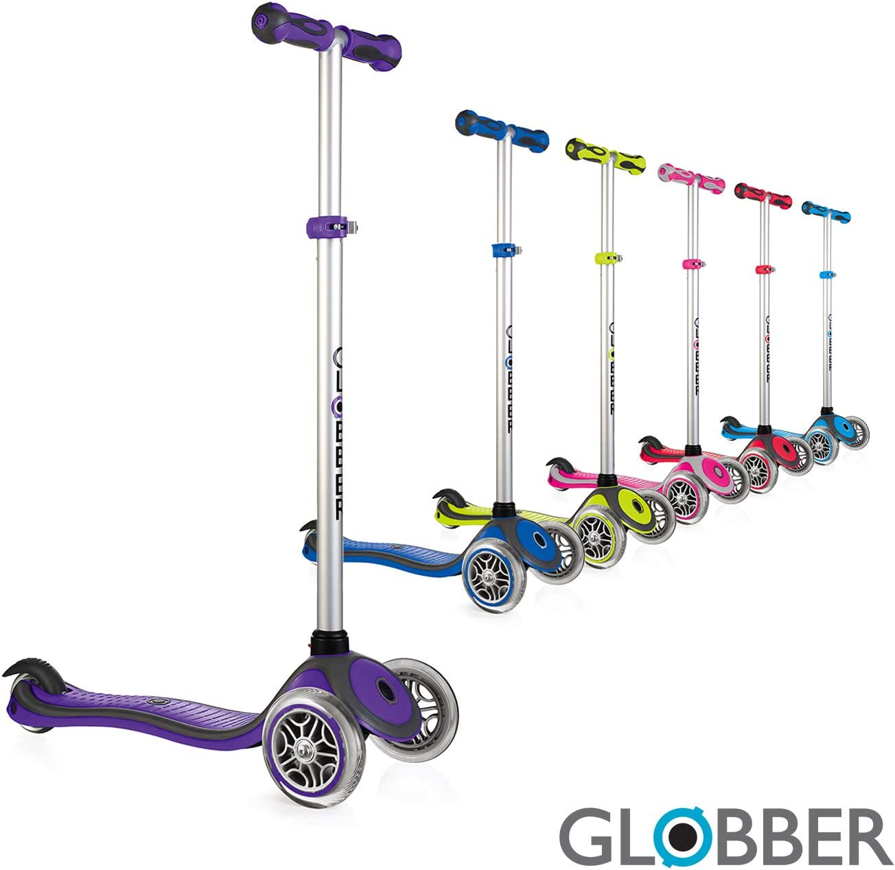 Globber V2 3-Wheel 4 Adjustable Height Scooter Zero Assembly Learn to Steer Patented Steering Lock Great for Kids Toddlers Girls or Boys Reinforced Body Supports Up to 110lbs