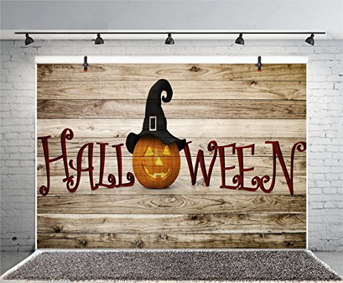 Leyiyi 6x4ft Photography Background Happy Halloween Backdrop Pumpkin Lamp Witch Cap Black Hat Vintage Grunge Board Wooden Texture Cartoon Character Costume Canival Photo Portrait Vinyl Studio Prop]()