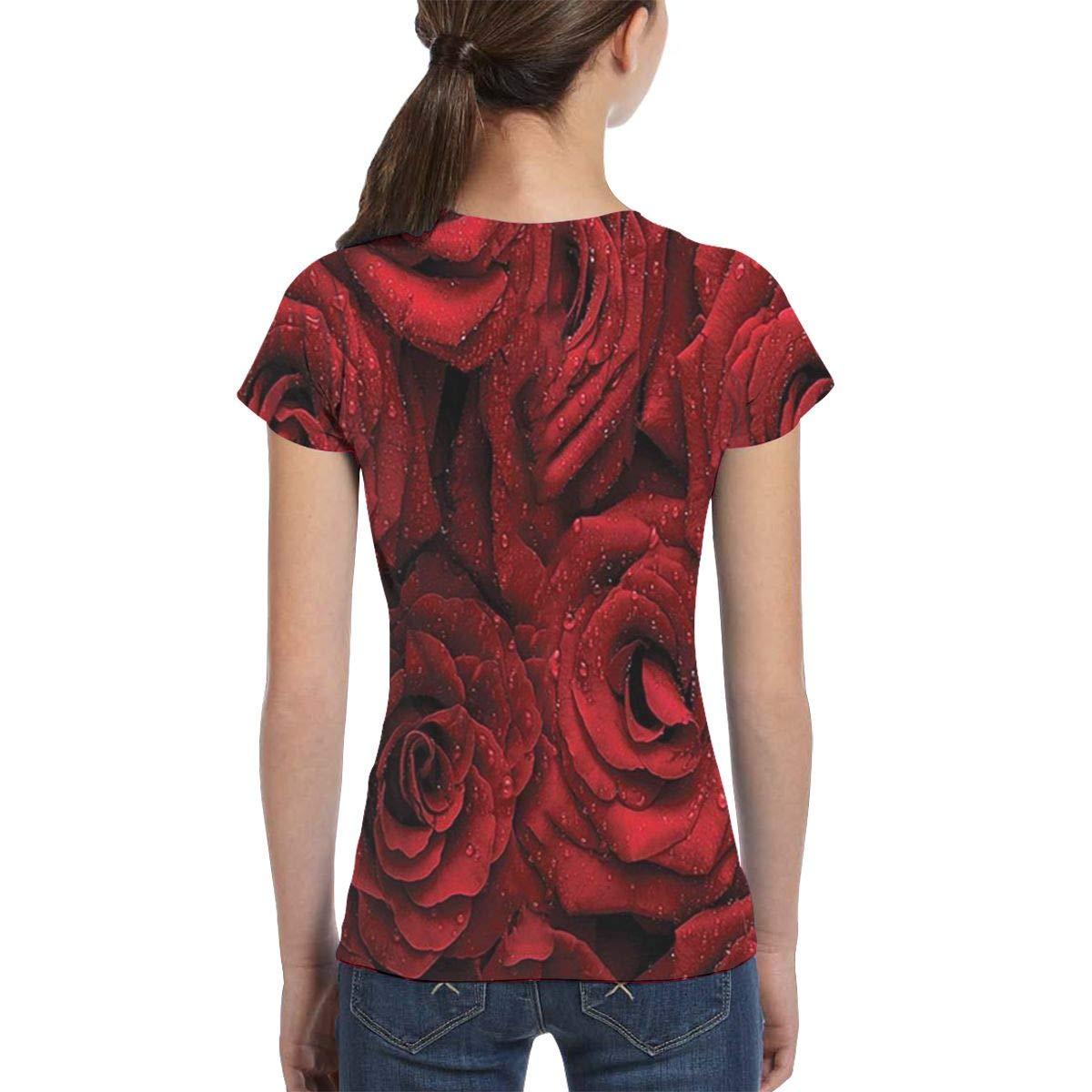 Casual Tunic Shirt Dress L6Nv4o@A Girls Short Sleeve A Beautiful Dripping Rose T-Shirts XS-XL