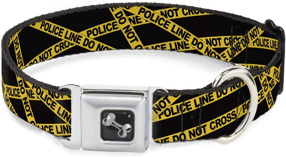 Buckle-Down Seatbelt Buckle Max 61% OFF At the price Dog Collar Yello Police Line - Black