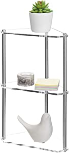 MyGift 3-Tier Clear Acrylic & Metal Tabletop Corner Retail Display Stand