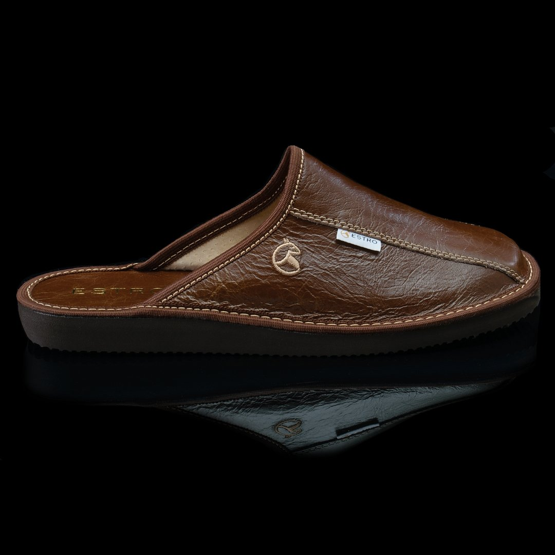 ESTRO Mens Slippers Men House Shoes Leather Home Mule Mens Slipper Memory Sole Frost