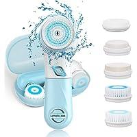 Gesichtsreinigungsbürste UMICKOO 5 in 1 wasserdichte elektrische Gesichtsbürste mit 5 Bürstenkopf, 2 Stufen Geschwindigkeiten Tiefenreinigung Sanfte Exfoliation mit Bewahrungskoffer (himmelblau)