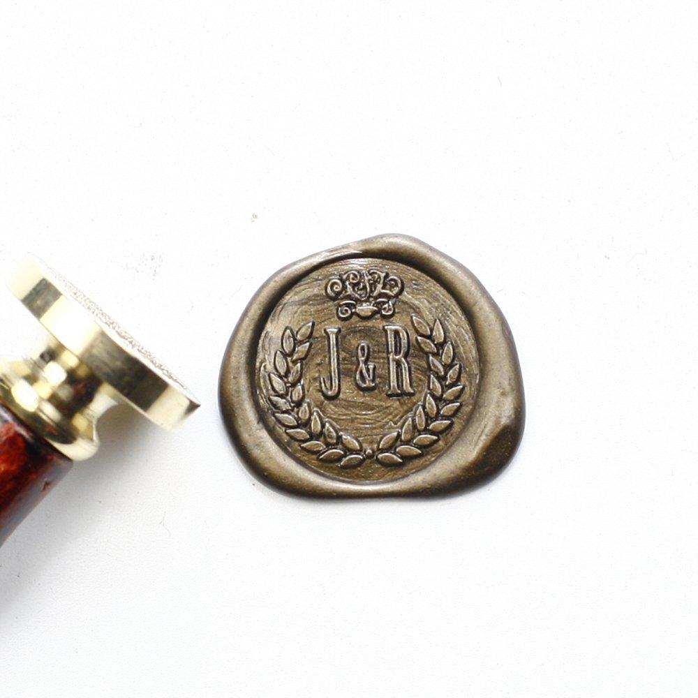 Custom Olive Branch Wreath Seal Stamp Stamp, Sealing Stamp Set, Seal Wax Stamp, Wax Seal, 25mm Initial Sealing Stamp