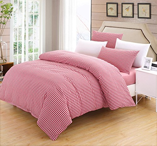 SUSYBAO 3 Pieces Duvet Cover Set 100% Natural Washed Cotton Queen Size 1 Duvet Cover 2 Pillowcases Luxurious Quality Soft Breathable Hypoallergenic Red Gingham Plaid Checkered Pattern with Zipper Ties - Sienna Duvet Cover