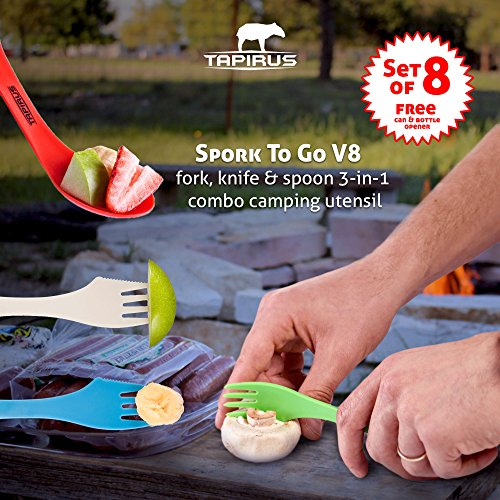 Tapirus Spork to Go V8 Set | 8 Colorful Durable & BPA Free Tritan Sporks | Spoon, Fork & Knife Combo Utensils Flatware Mess Kit for Camping & Outdoor Activities | with Bottle Opener & Carrying Case by Tapirus (Image #1)