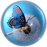 H&D Crystal Glaze Butterfly Dome Paperweight Globe Hemisphere Home Decoration (blue 1)