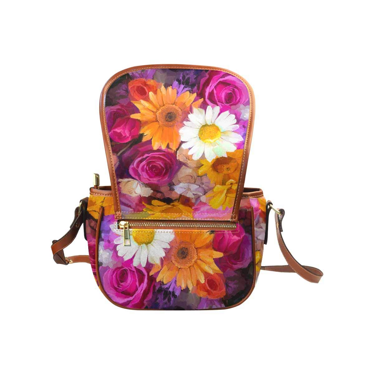 InterestPrint a Bouquet of Rose,Daisy Womens Saddle Shoulder Bag Crossbody Sling Bag Travel Shopping Satchel