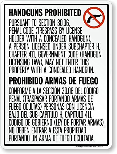 Handguns Prohibited/Prohibido Armas De, Engineer Grade Reflective Aluminum Sign, 80 mil, 24