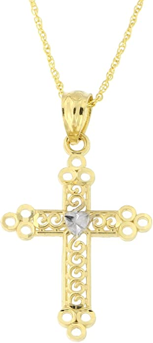 CloseoutWarehouse Yellow Gold-Toned Plated Sterling Silver Cross Dangling Pendant Sterling Silver