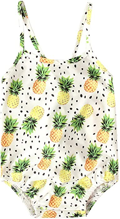 Baby Girls Swimsuit Fruits Print Bathing Suit 0-6T Little Kids//Toddler Swimwear Rashguard One Shoulder Romper