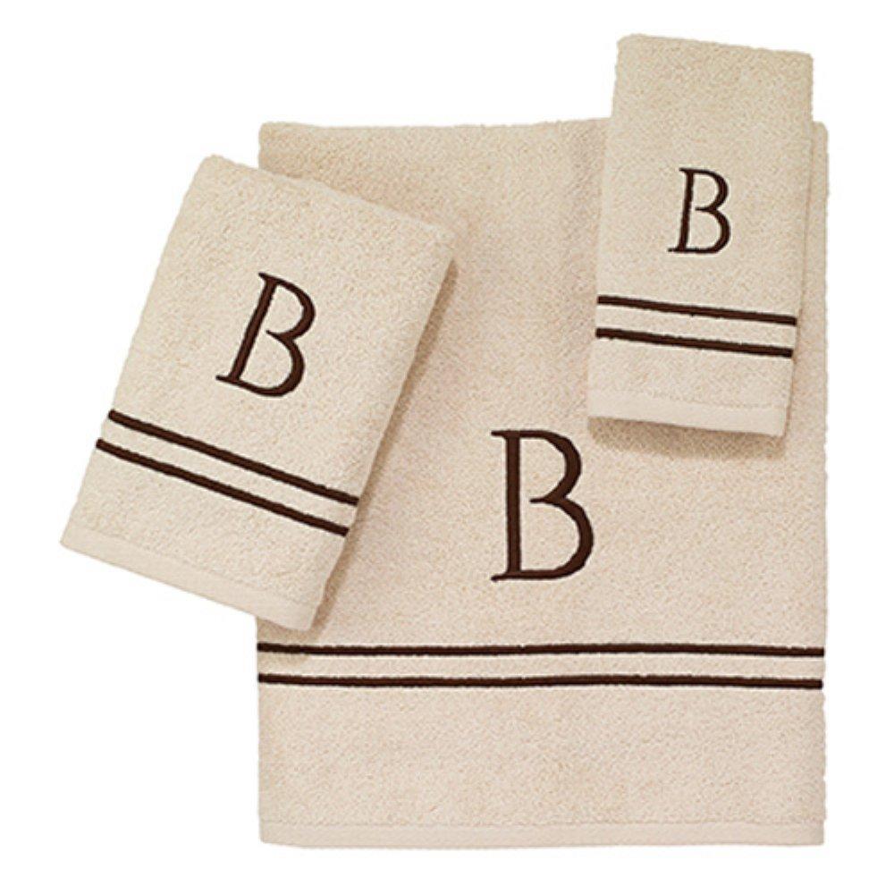 KIT Medium Avanti Linens Ivory//Mocha Block Monogram Bath, Hand, FINGERTIP
