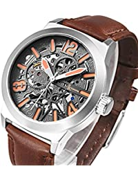 Gute Trade Men Automatic Watch,Motion Style Silver Tone Self Winding Stainless Steel Brown Leather Band Watch...