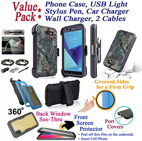 Value Pack + for 5.5'' Samsung Galaxy J7 Prime On Nxt On7 Prime Case Holster Phone Case 360° Cover Screen Protector Back Window Stand Shock Armor (Camo Solid) by 6goodeals