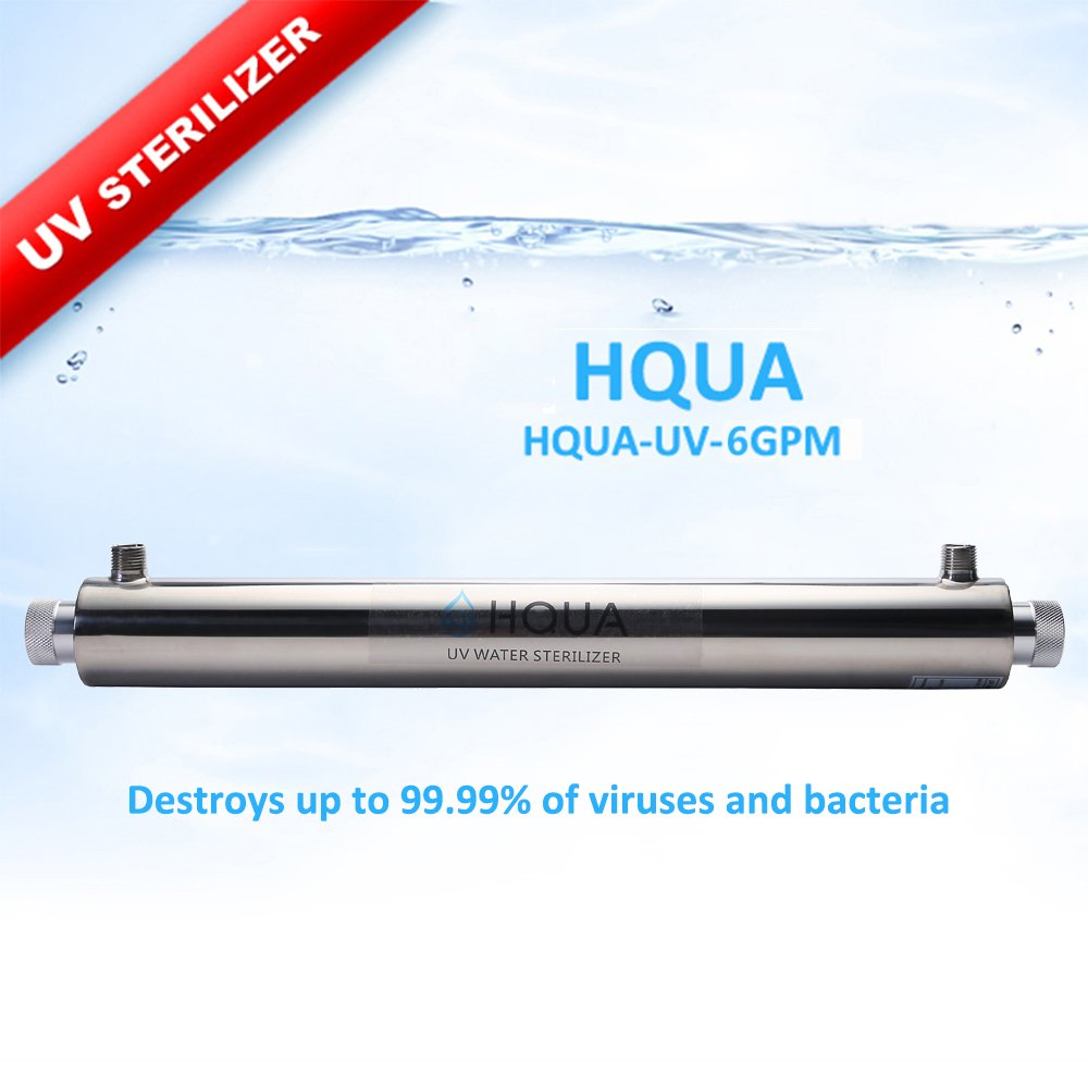 Ultraviolet Water Purifier Sterilizer Filter for Whole House Water Purification,6GPM 25W Model HQUA-UV-6GPM + 1 Extra UV Tube