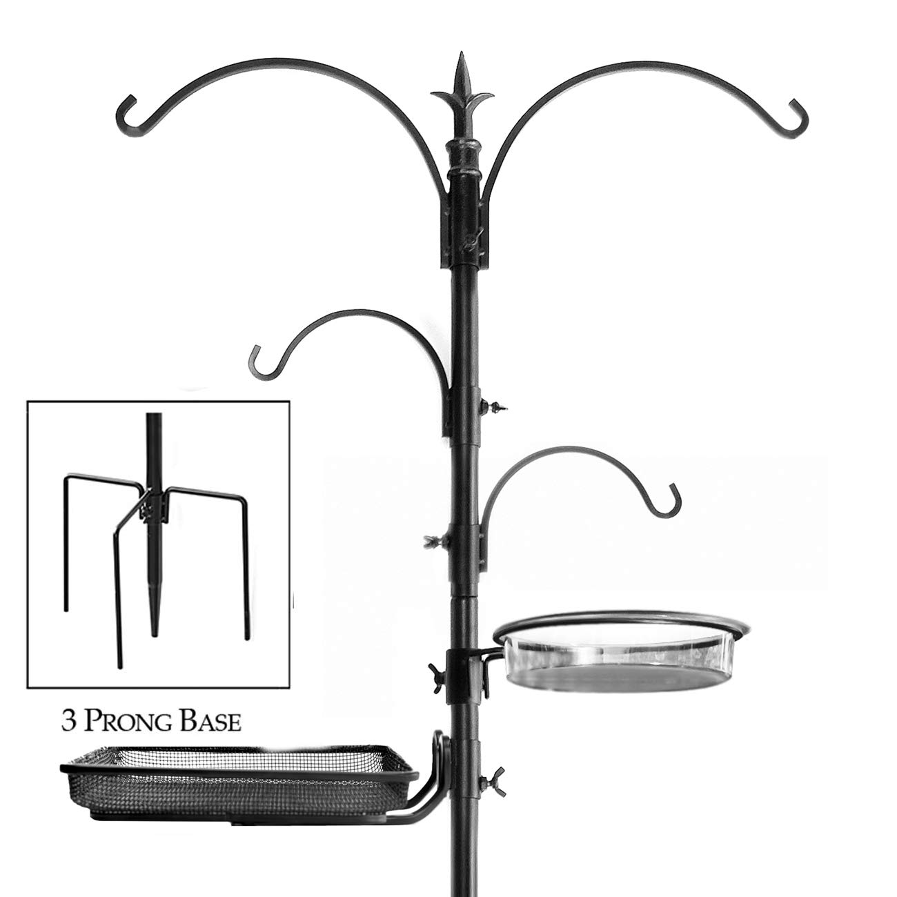 Ashman Premium Bird Feeding Station Kit, 22'' Wide x 92'' Tall (82'' above ground height), A Multi Feeder Hanging Kit and Bird Bath For Attracting Wild Birds