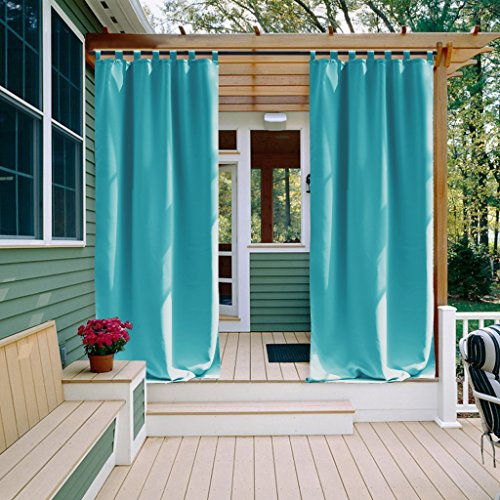 Outdoor Curtain Panel for front Porch - NICETOWN Three Pass Microfiber Thermal Insulated Tab Top Blackout Outdoor Indoor Window Curtain / Drape (1 Pack,52 x 108 Inch, Turquoise Blue) (Curtains Fabric Outdoor)
