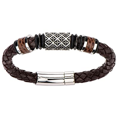 e497327e5b3c Image Unavailable. Image not available for. Color  Tribal Hollywood The  Saint Bracelet Steel Fleur De Lis Bead Brown Leather Bracelet