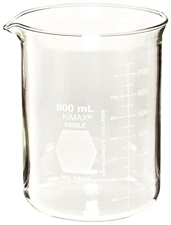 cd36cb95d0e Kimble 14000-20 Glass Low Form Griffin Beaker with Double Capacity Scale