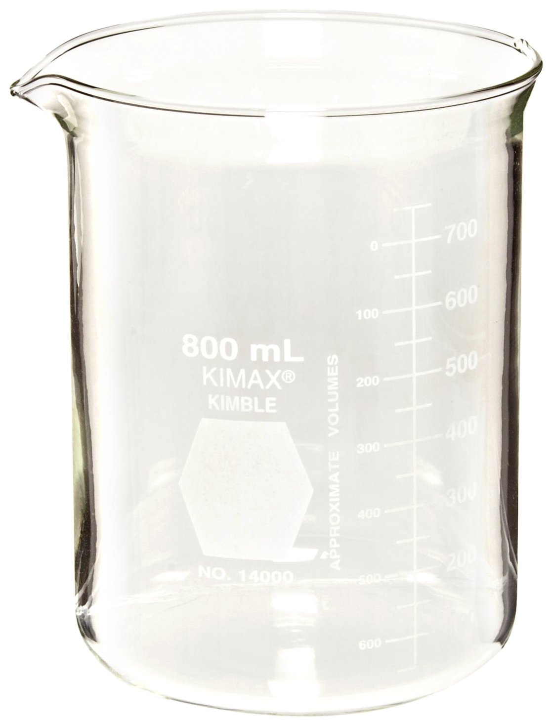 Kimble 14000-250 Glass Low Form Griffin Beaker with Double Capacity Scale, 25-200mL Graduation Interval, 250mL Capacity, 25mL Graduation (Pack of 12)