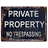 PRIVATE PROPERTY no trepassing Sign Rustic Vintage Retro Kitchen Bar Pub Coffee Shop Wall Decor 9''x12'' Metal Plate Sign Home Store Decor Plaques