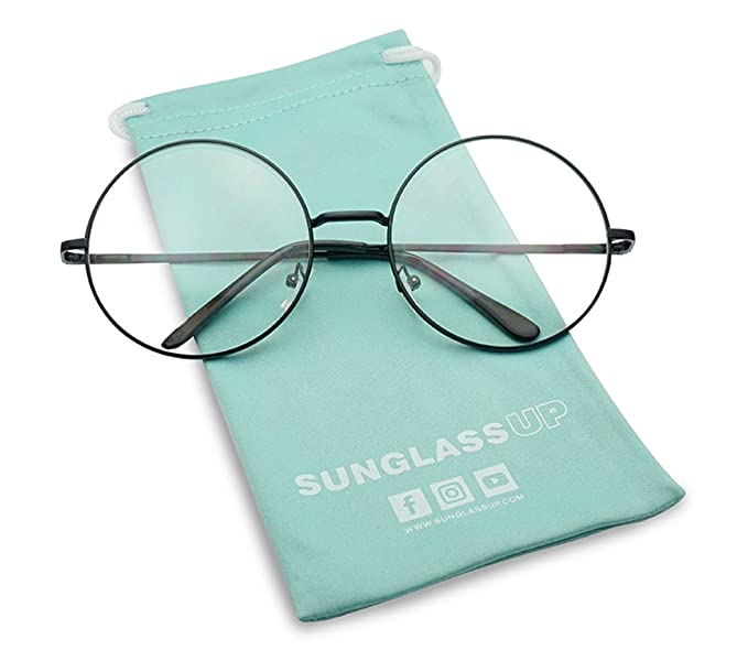 cfefc69b90 SunglassUP - Large Oversized Vintage Retro Metal Frame Nerdy Circle Clear  Lens Glasses (Black