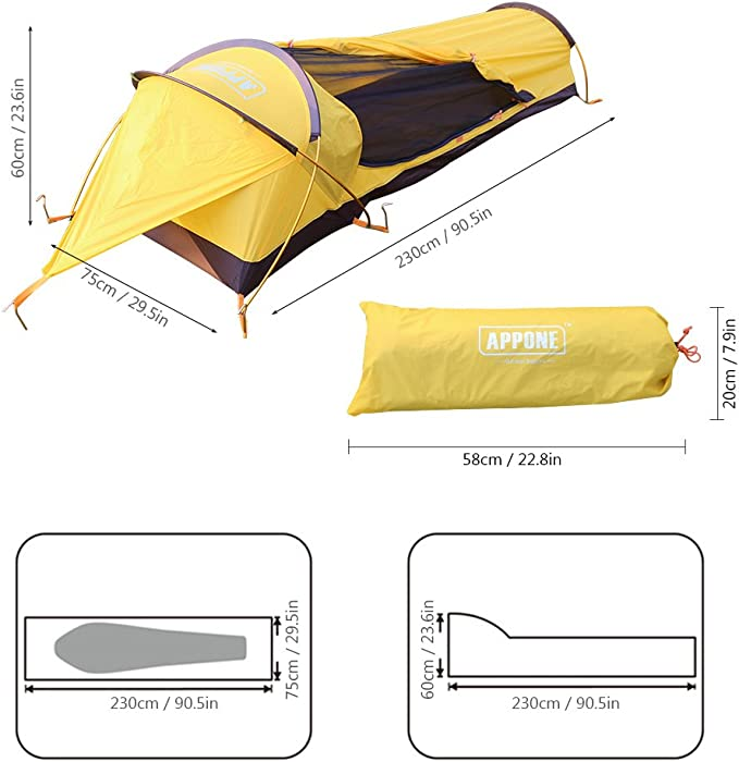 Lixada Ultraleicht 1 Person Zelt Rainproofzelt Trekkingzelt