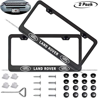 CAR FAN 2-Pieces Black License Plate Frame for Land Rover,Silent Tough,Better Decoration of Your License Plate Frame (fit Land Rover): Automotive