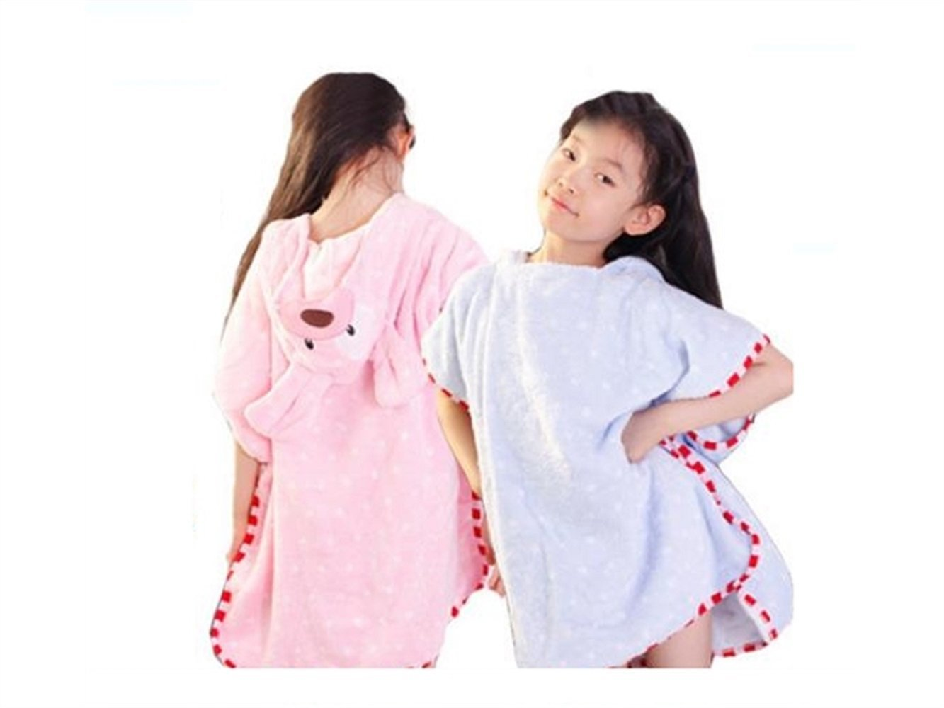 Wesource Activates Baby Cartoon Dog Hooded Bath Towel Bathrobe Cute Animal Cloak for Children (Pink)