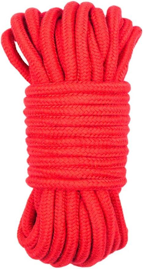 Fenteer Cordage en Coton Tress/é Torsad/é D/écoration Murale /à Suspendre Multi-Usage Rouge 10m