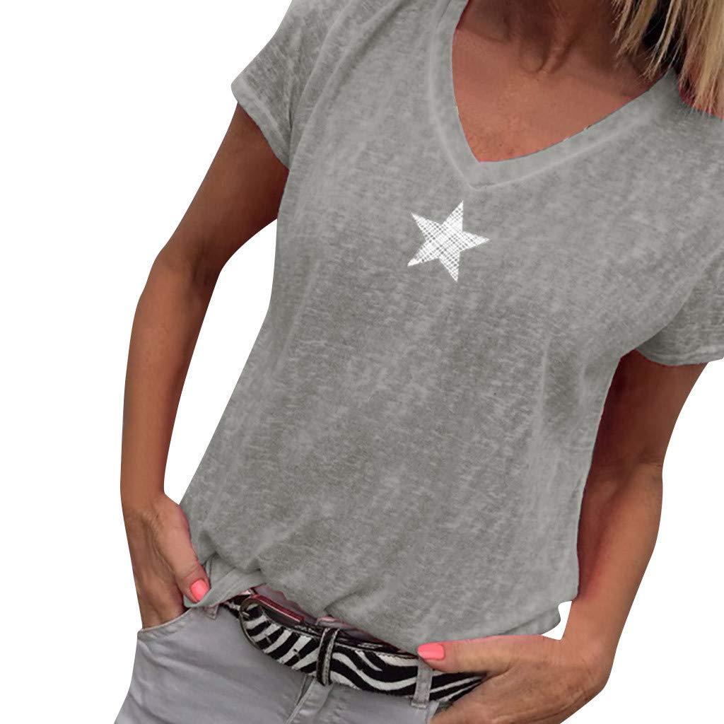 T-Shirt for Women Short Sleeve Star Print V Neck Solid Color Tops Blouse (S, Gray)