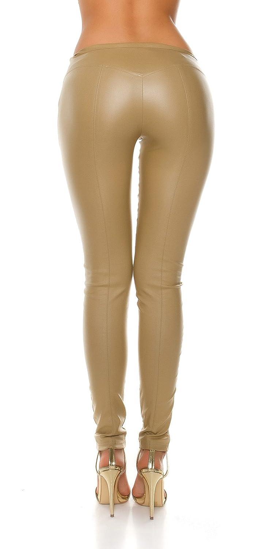 Kunsteder-Leggings mit figurbetonenden Zier-Nähte