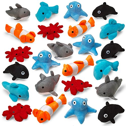 Kicko Sea-Life Plush Toys - 3 Inches - 24 Assorted Pieces - for Kids, Babies, Adults, Decorations, Bedtime, Sleep, Play, and Education -