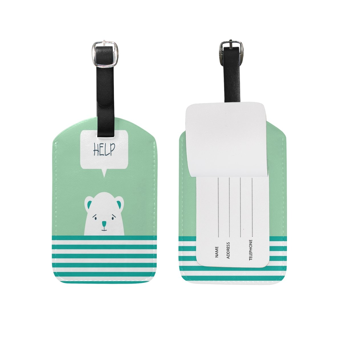 Saobao Travel Luggage Tag Cute Bear In Water PU Leather Baggage Suitcase Travel ID Bag Tag 1Pcs