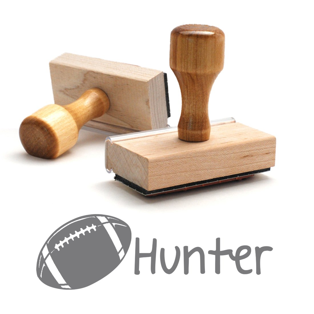 Personalized Kids Name Wood Stamp, Football Stamp, Custom Stylish Font, Customized Name, Rubber Stamp, Naming Stamp, Children Signature Stamper, School Book Label Child Name Rugby Ball (Wooden)