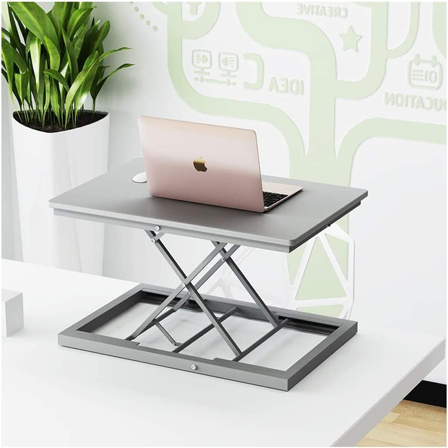 Stand-up Laptop Desk Work Desktop Monitor Lift Bracket Support Station Office Desk Small Adjustable Folding Table Computer Lift Table Color : Silver