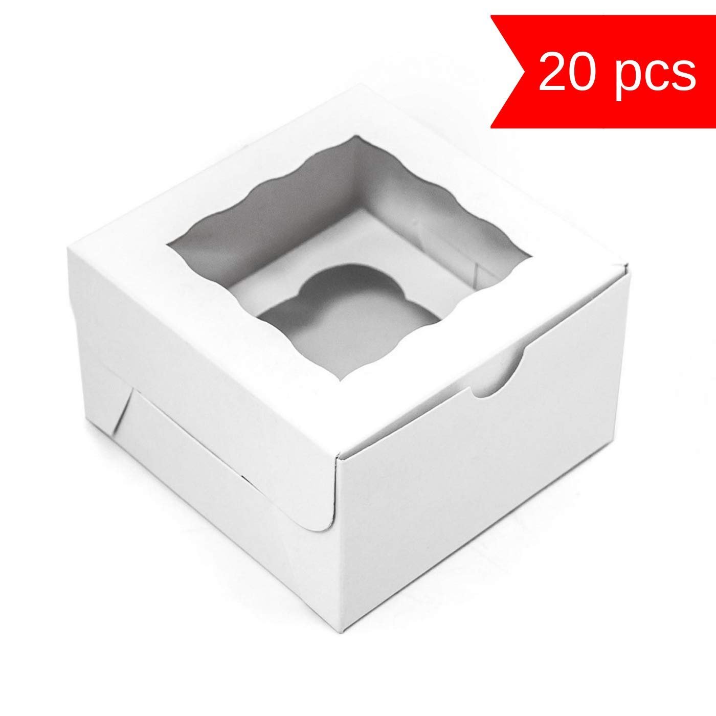 Individual Cupcake Boxes - Kraft Paper Cupcake Containers with Window 4x4x2.5 Inch - Single Muffin Box - Perfect for Mini|Standard|Jumbo Cupcakes|Bakery|Pastry|Sweets - 20 Pack