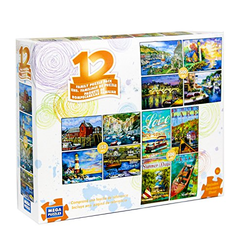 (12 Puzzles in 1 Box Family Puzzle Pack (Various Artists) Lighthouse, Ships, Boats, Sail Boats, Ocean, Sea Ports, Docks, Nautical)