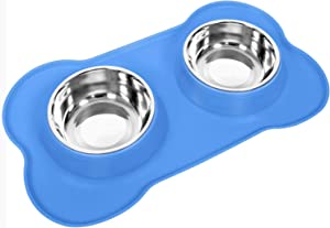 Awolf Dog Bowls Stainless Steel Pet Bowls & Dog Food Water Bowls with No-Spill and Non-Skid, with Dog Bowl Mat for for Feeding Small Medium Large Dogs Cats Puppies