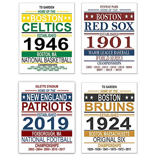 (Boston Vintage Sports Posters - Set of Four 11x14 Prints - Celtics, Red Sox, Patriots, Bruins - NBA, MLB, NFL, NHL Memorabilia Fan Art)