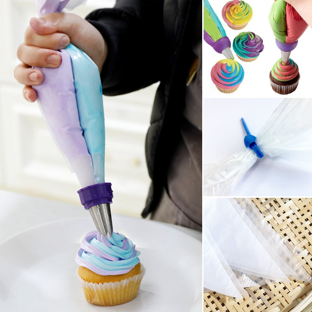 100 Pcs Disposable Decorating Bags and 2 Pcs Reusable Pastry Bags 16 Inch Larger Thicken Icing Piping Bags for Cupcakes Baking Lover Non Slip Frosting Bags with 5 Bag Ties by Banoy (Image #2)
