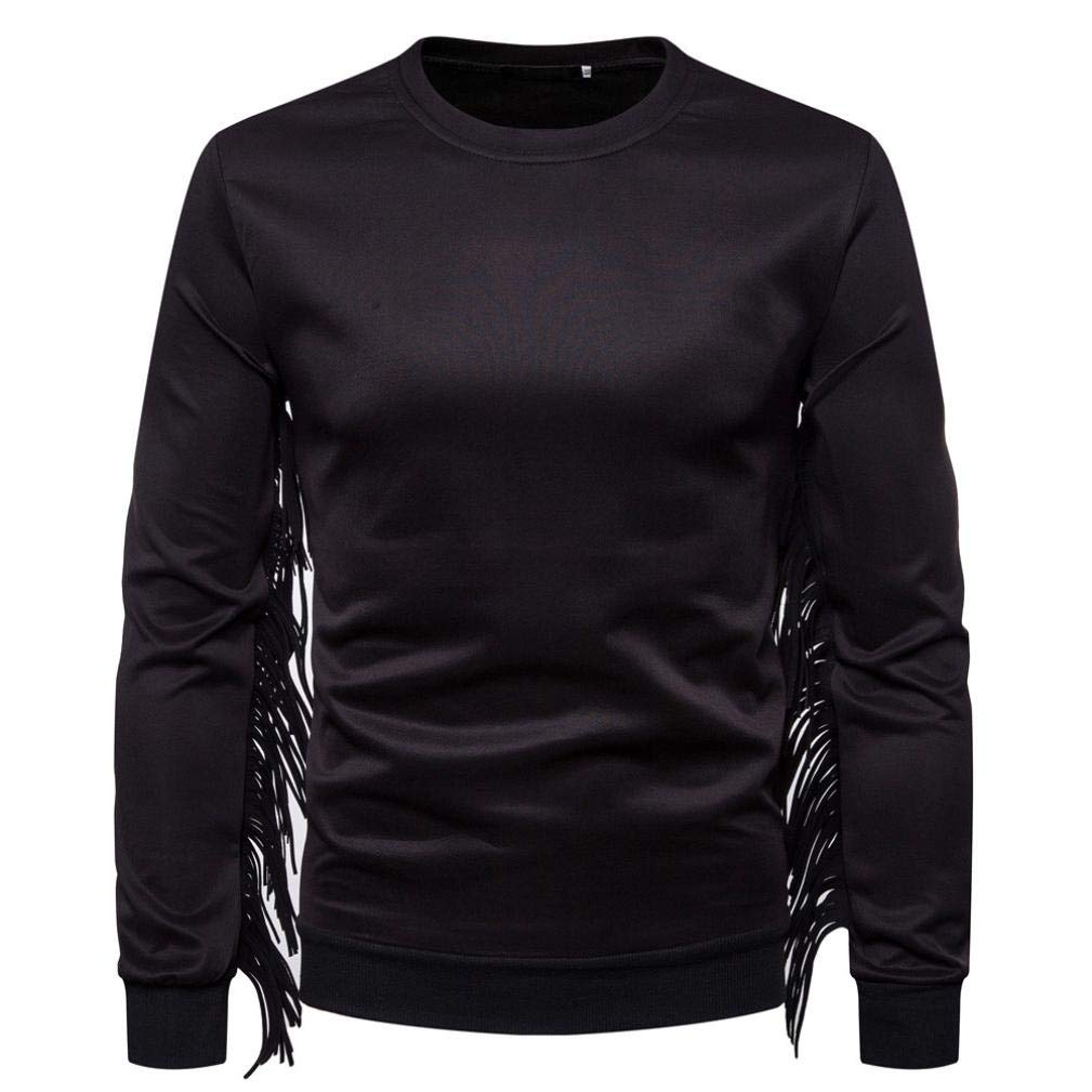 Men's Fashion Fringed Long Sleeve Sweatshirt - vermers Women Casual Western Suede T Shirt O-Neck Solid Tops Blouse(XL, Black)