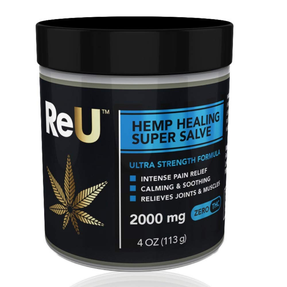 ReU Hemp Healing Pain Relief Salve - 2000MG Organic Hemp Extract Cream with Pure Natural Essential Oils - Made in USA (4 oz)