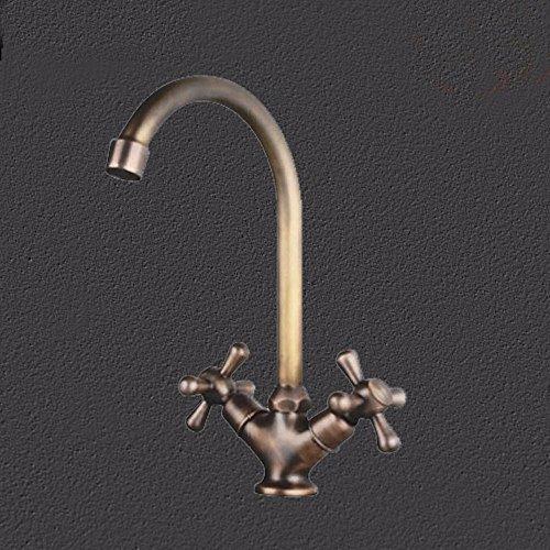 SJQKA Hot and cold basin taps, rotating basin faucet, double imitation bronze single hole, by SJQKA
