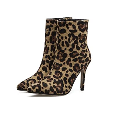 10CM Stiletto Pointed Toe Leopard Bootie Robe Chaussures Court Chaussures Femmes Personnalité Seude Ankle Boots 2017 Automne et hiver New Eu Taille 35-40