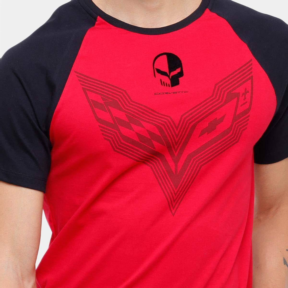 e825fd7455 Camiseta Corvette Raglan Mixed Flame Masculina - Vermelho+preto - G   Amazon.com.br  Amazon Moda